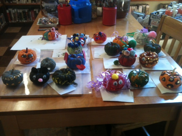 Decorated mini pumpkins